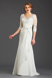 Image 2 - 2018 新ホット販売プラスサイズの母との結婚式のハーフスリーブシフォン v ネックフォーマル女性ドレスの母ドレス