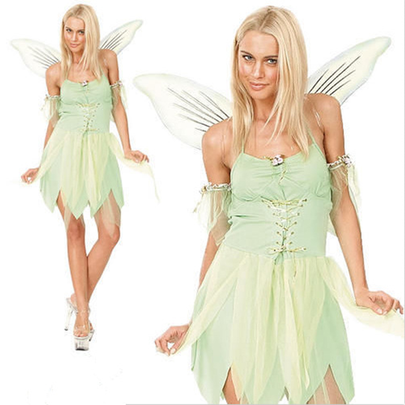 High quality new Halloween holiday party dress ice snow queen dress green pet elf sexy adult woman clothing ice and fire cosplay