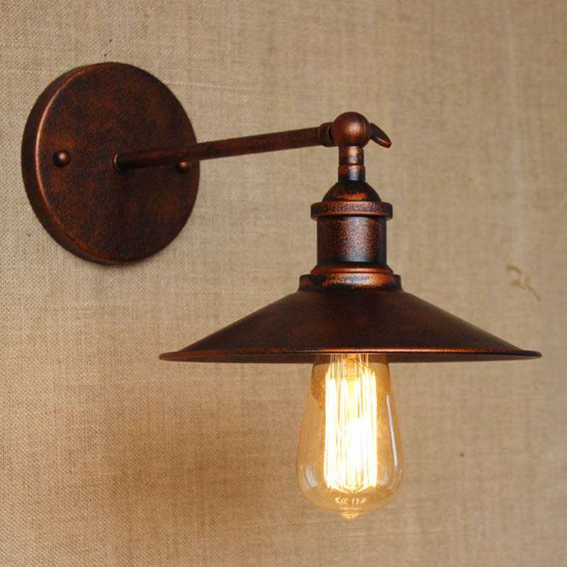 Retro american pastoral style contracted  for bathroom bedside bedroom  foyer rust color lighting wall Lights lamps hallway E27 купить