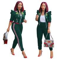 Women Suit Sportswear Autumn Winter New Casual Embroidery Coat and Pants Fashion Suit Women Sets Women Tracksuit Plus Size S XXL