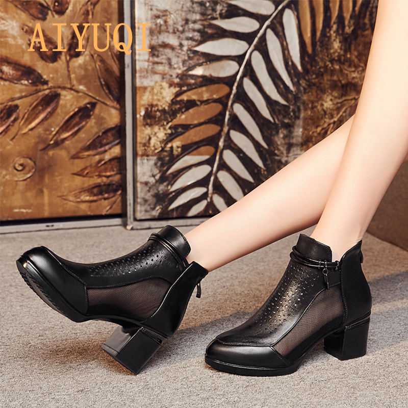 AIYUQI 2019 New summer women 39 s sandals made of 100 natural genuine leather fashion mesh red dress shoes female breath in Middle Heels from Shoes