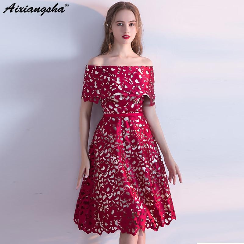 New Red Prom Dresses 2018 Boat Neck Short-Sleeves Knee-Length prom ...