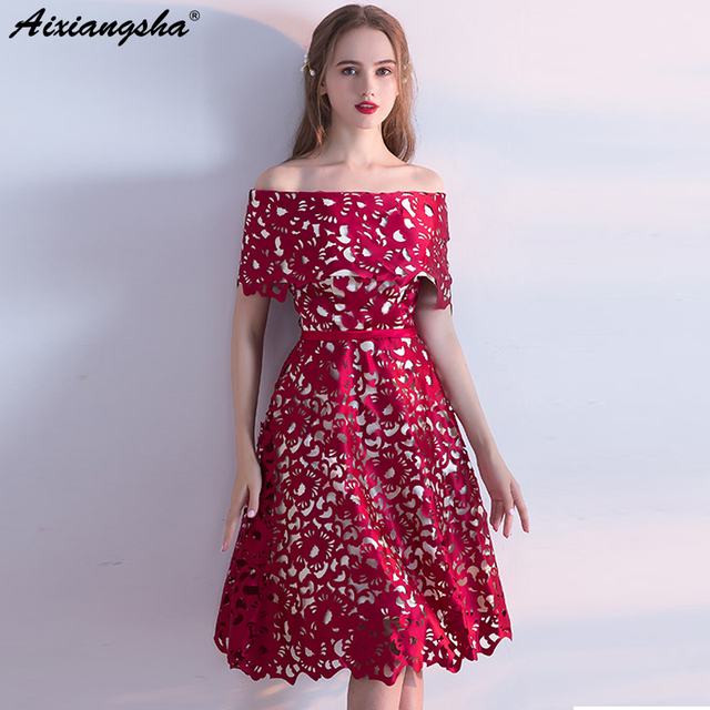 New Red Prom Dresses 2018 Boat Neck Short Sleeves Knee Length prom ...
