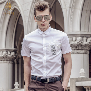 Fanzhuan Free shipping new 2017 summer fashion short sleeved men's male blouse slim clothes casual shirt 713087 white Embroidery