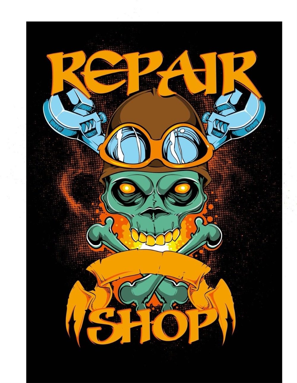 2018 Short Sleeve Cotton T Shirts Man Clothing Black Tee Shirt Repair Shop Skull And Wrenches 436T-Shirt Summer Style Funny