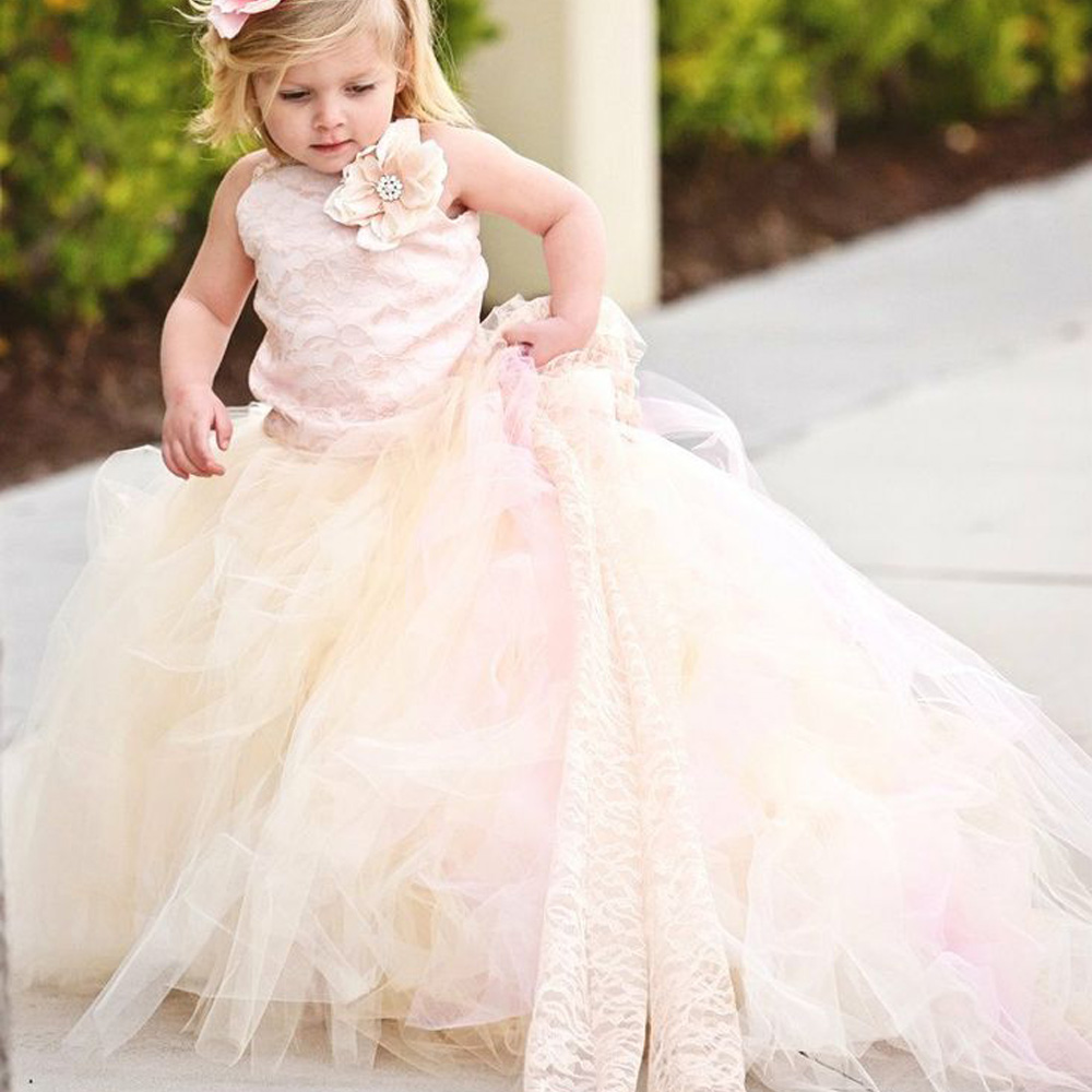 Cute Princess One Shoulder Kids Dress Tulle Ball Gowns Little Infant Girl Glitz Train Kids First Communion Dress 0-12 Y Old 2017