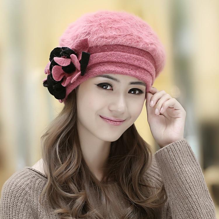 Very 2017 New Fashion Winter Fashion Two Flower Rabbit Fur Hat Winter  WW14