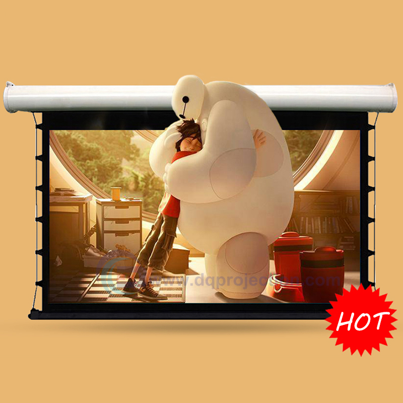 72 4:3 Top-ranking Electric Tab Tension Projection Screen Home Theater High Quality Cinema Motorized Projector