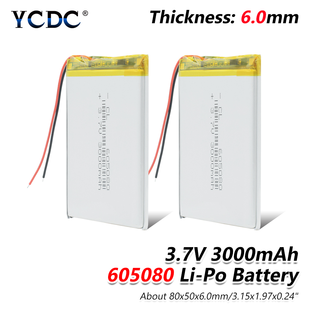 1/2/4 Pieces Large Capacity 3.7v Lipo Battery 3000mah 605080 Li Ion Polymer Lithium Battery For MP4 DVD Tablet GPS Electric Toys 3 7v 12000mah 1640138 combination rechargeable lipo polymer lithium li ion battery for power bank tablet pc laptop pad pcm board