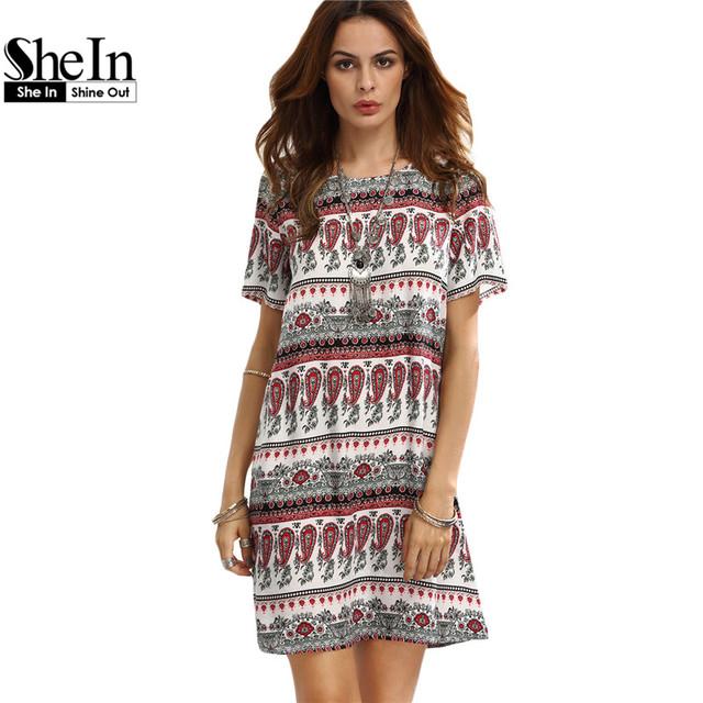 Shein vestidos casuais para a mulher verão bohemian senhoras do vintage impressão multicolor mudança de manga curta em torno do pescoço dress