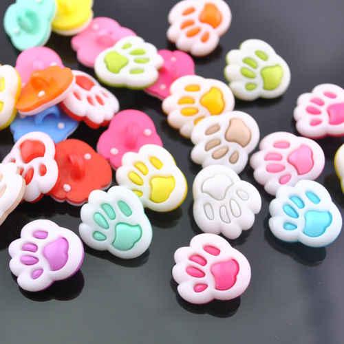100 pcs doce cor pequena pata de urso multicor botão de plástico dos desenhos animados para crianças roupas para crianças costura artesanato 13mm