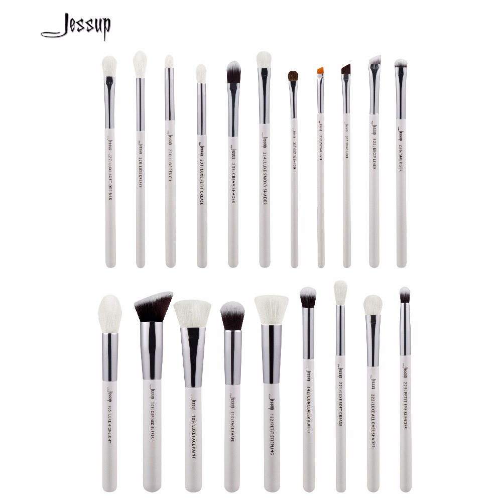 2017 jessup brushes Pearl White/Silver Professional Makeup Brushes Set Cosmetics Brush Tools kit Foundation Powder Brushes T245