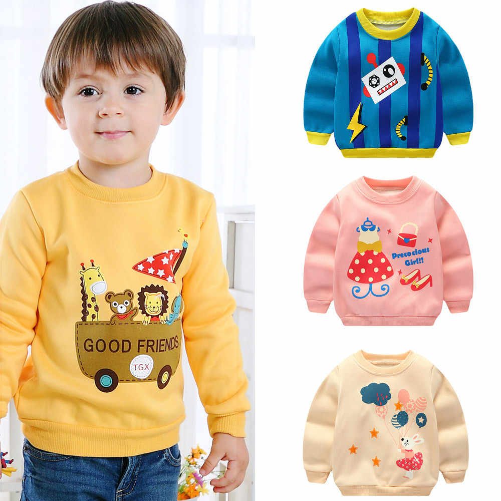 2020 Newborn Baby Girls Boys Sweatshirts Winter Autumn Children Hoodies Long Sleeve Pullover Cotton Sweater Kids T-shirt Clothes