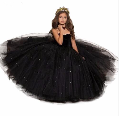 Black Puffy Tulle   Girls   Party   Dress   Ball Gown Sweetheart Beading Pearls   Flower     Girl     Dress   Kids Pageant Prom Gown Size 2-14Y