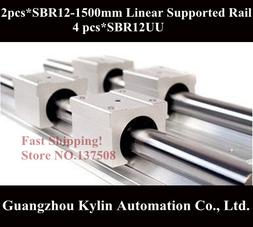 Best Price! 2 pcs SBR12 1500mm linear bearing supported rails+4 pcs SBR12UU bearing blocks for CNC все цены