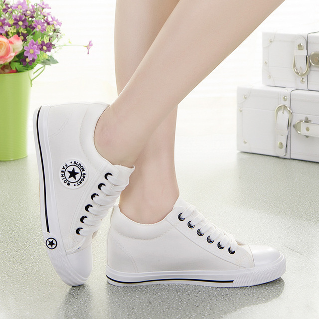 Fashion Women Canvas Shoes Woman Casual Shoes White Star Wedges Shoes Denim Basket Zapatos Mujer Chaussure Femme Summer Flats