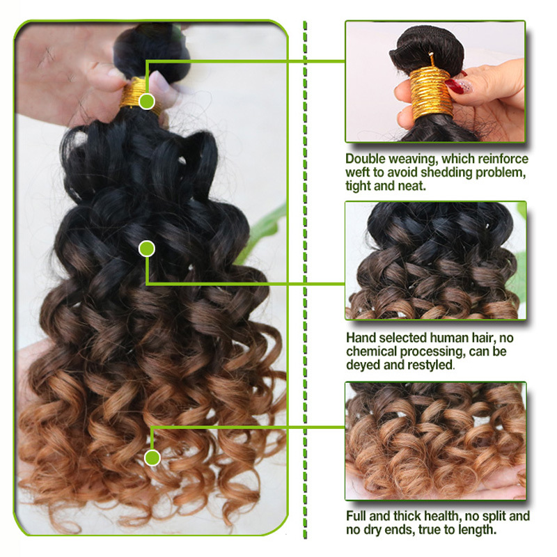 Cheap 3 Tone Brazilian Spiral Curly Ombre Hair Extensions 4 Bundles