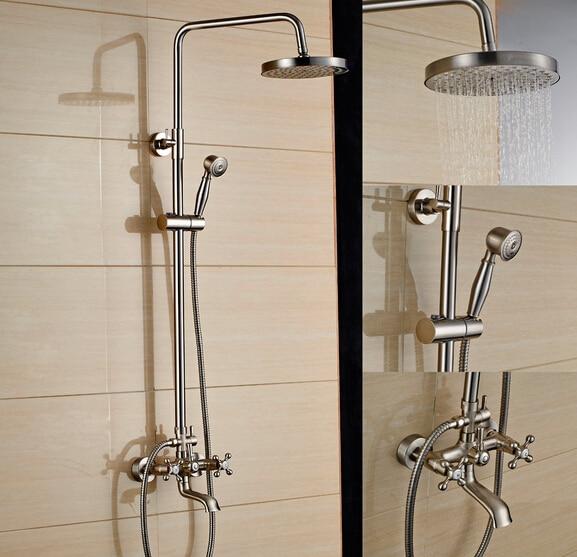 Brushed Nickel Bath Shower Faucet Set Tub Mixer Tap 8 inch Rain ...