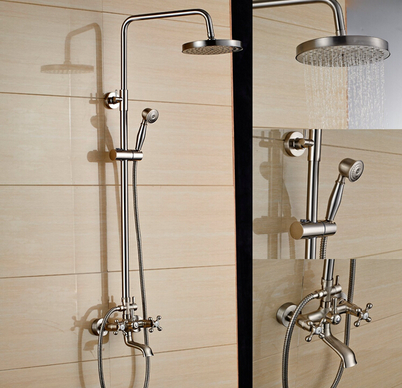Brand Names Of Bathroom Faucets: Brushed Nickel Bath Shower Faucet Set Tub Mixer Tap 8 Inch