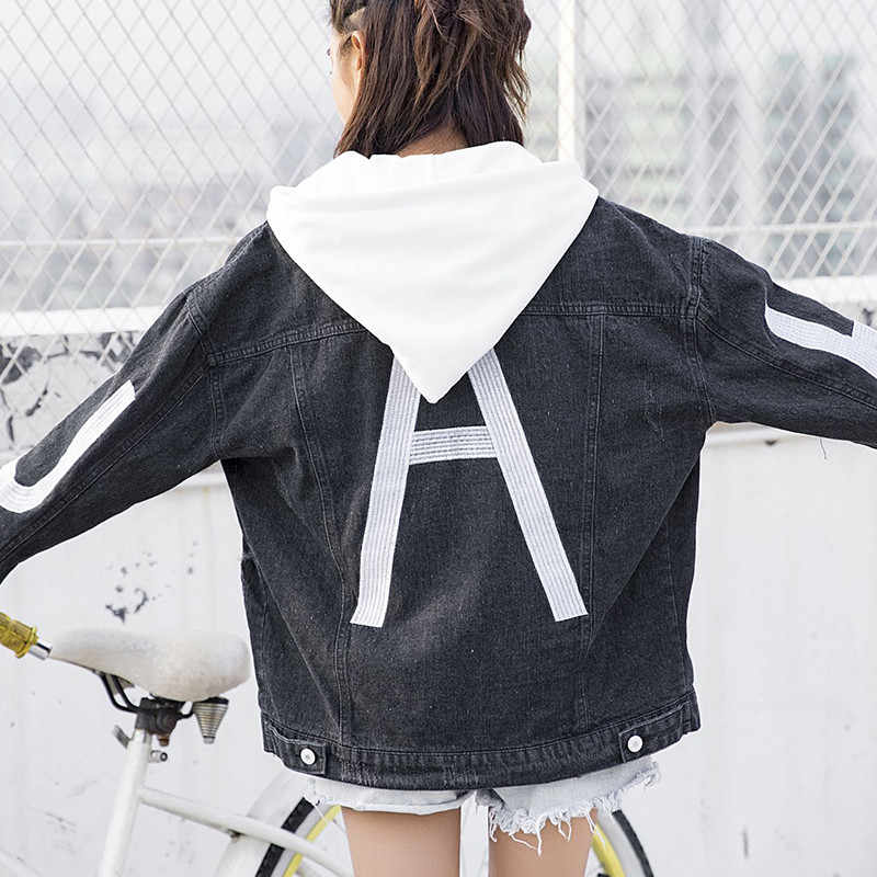 原宿スタイル付きデニムジャケットの女性 2018 春秋新韓国語バージョン野生取り外し可能な帽子 BF 緩い学生コート X206