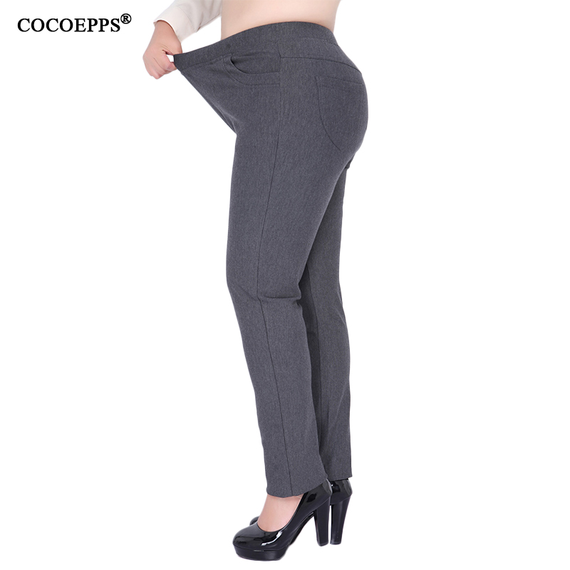 2017 High waist skinny pants Winter Casual Fashion Classic Mom pants 7XL 8XL trousers for women Large Size Fatpantalon femme 9XL