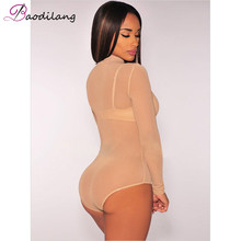 Women See Through Mesh Sheath Bodysuits Rompers Lady female Sexy Turtleneck Long Sleeve Night Club Body Suits One Piece Overalls
