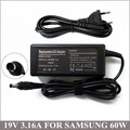 19V 3.16A 60W Laptop Charger AC Adapter For Notebook Samsung X60 X65 R50 Adp-60zh A AD-6019 AD6519 R540 R580 300E