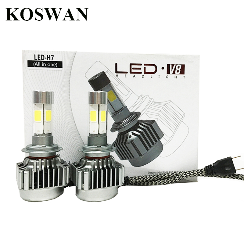 All in One V8 LED Headlight H7 Car Headlight H7 Bulb Auto Front Bulb 80W 8000lumen