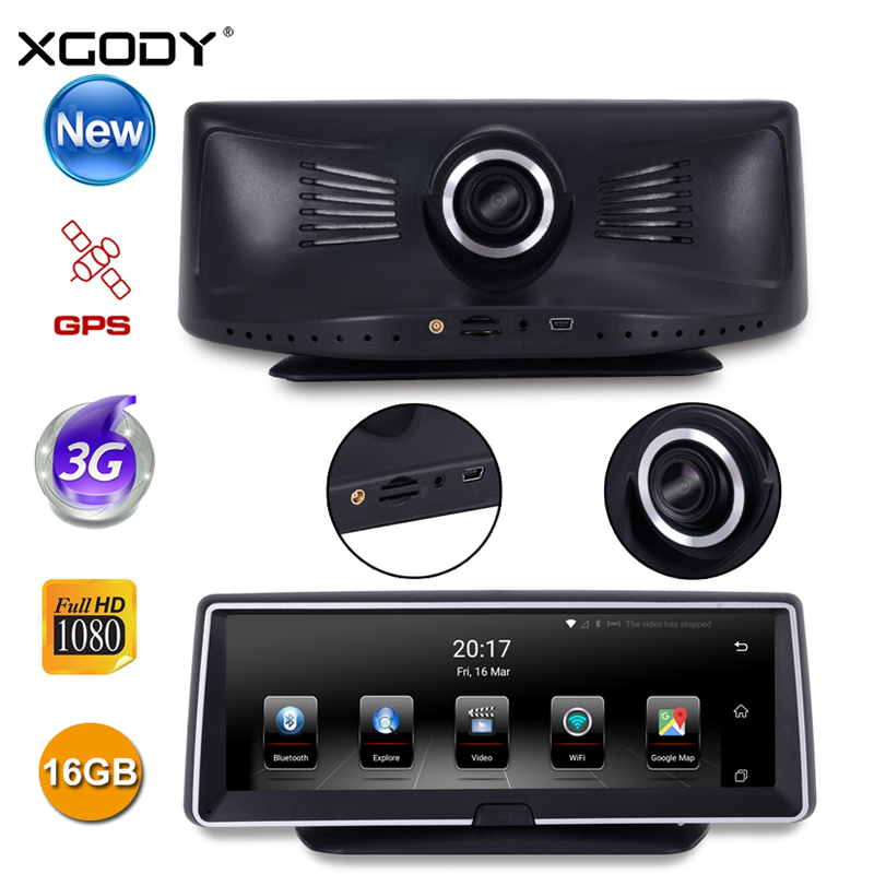 XGODY 782 3G 8 Inch Car DVR GPS Navigation Dual Lens Touch Screen Android 5.0 16GB ROM HD 1080P WiFi BT FM Dash Rear View Camera