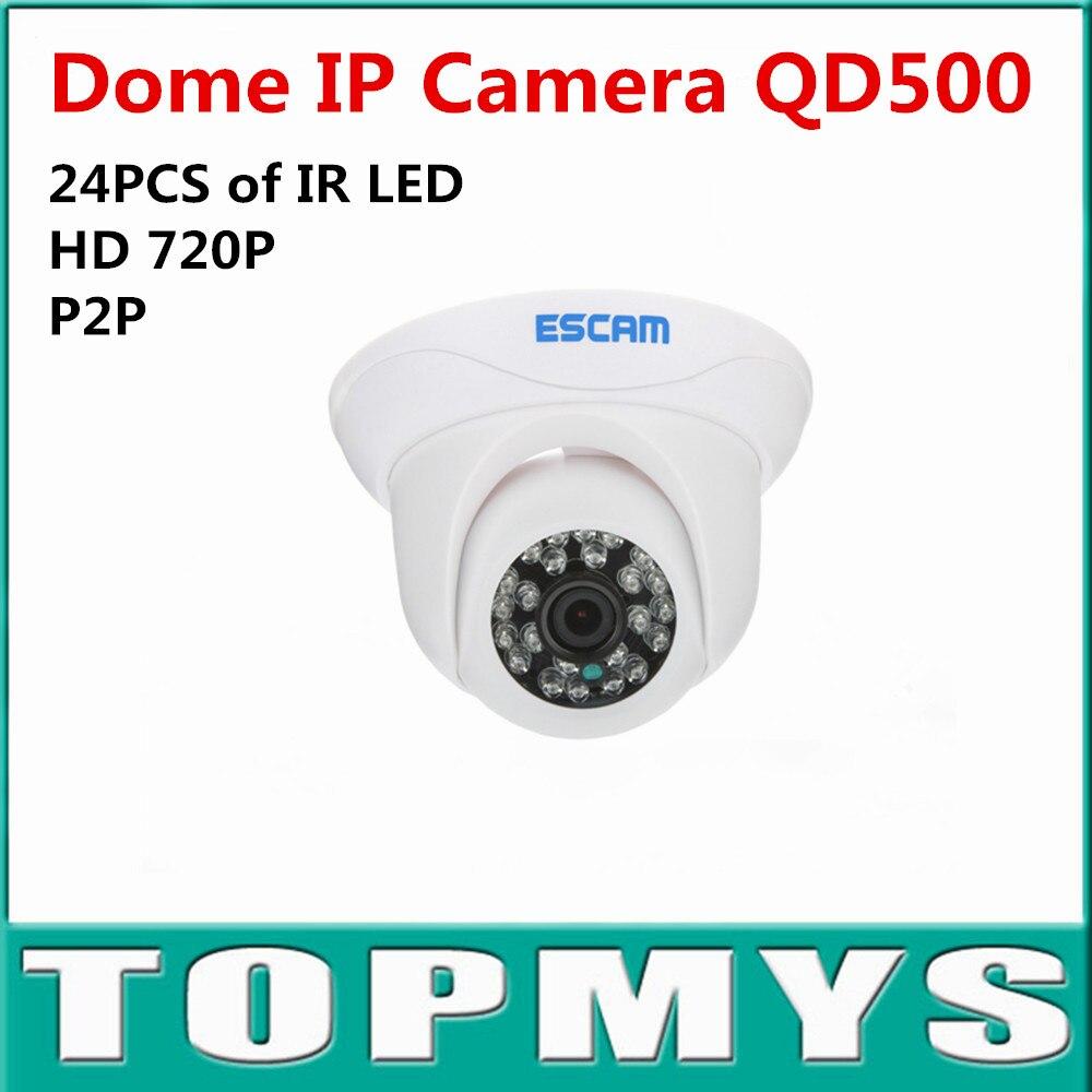 ФОТО ESCAM HD 720P P2P Plug and Play Dome IP Camera QD-500 ONIVF CCTV Camera Home Security ipcamera Smart Phone View 24pcs IR LED