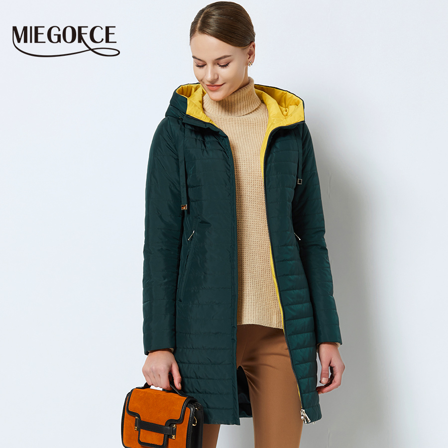 76bbdac9386 MIEGOFCE 2018 New Spring Collection Of Jackets Spring Women's Parka Jacket  Warm With A Hood High-Quality Women's Thin Parka Coat