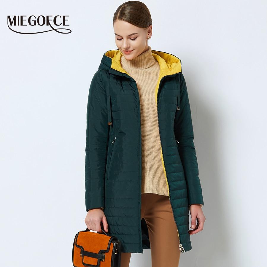 MIEGOFCE 2019 nouvelle Collection printemps de vestes printemps veste Parka femme chaude avec une capuche de haute qualité femmes mince Parka manteau