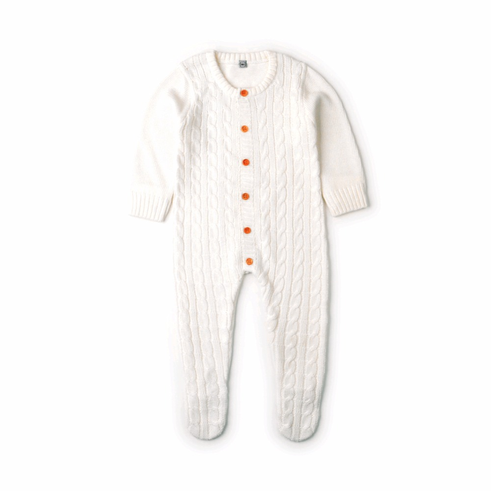 5bb9e2c79173 Newborn Infant Baby Girl Boys Rompers Spring Cable Knit Toddler One ...