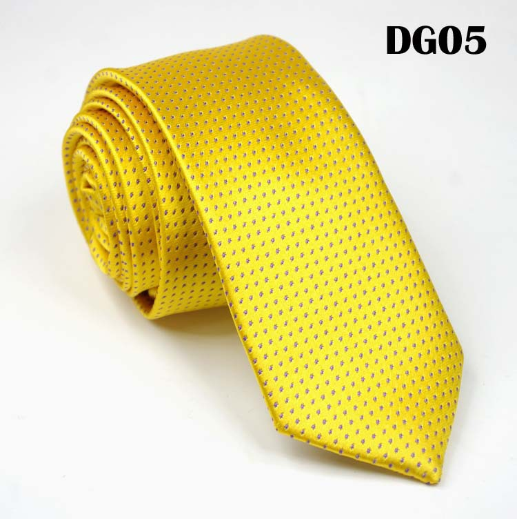 SCST Brand New Classic Dot Print Yellow Gold Solid Silk Ties For Men Wedding Tie 6cm Skinny Neckties Slim Necktie Gravata CR036