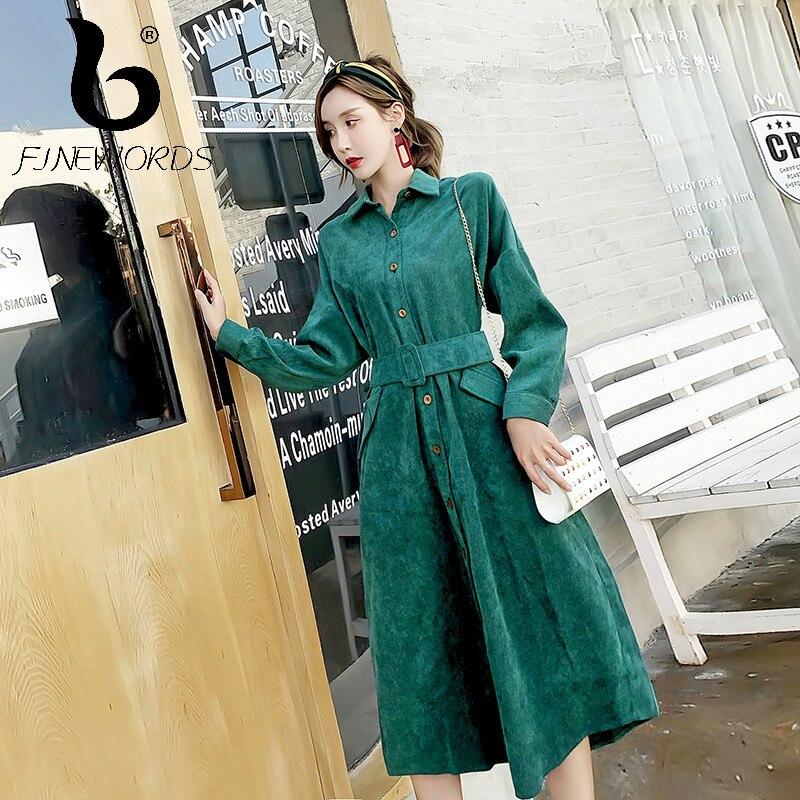 Vintage Automne Green Robe Femmes Bureau Ceinture Femme Velours En Avec Long Vert Slim Hiver Finewords Coréenne Côtelé À Manches Longues 6pq4Hdd