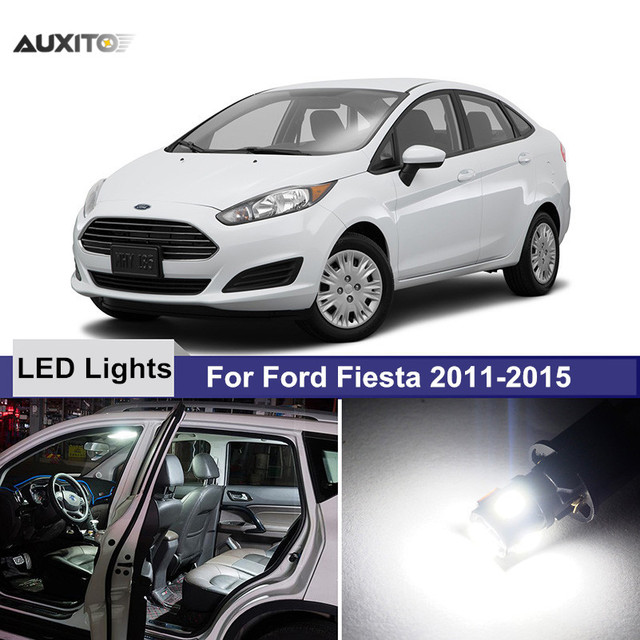 X For Ford Fiesta White Car Led Interior Light Bulbs Package Kit License Plate Jpg X