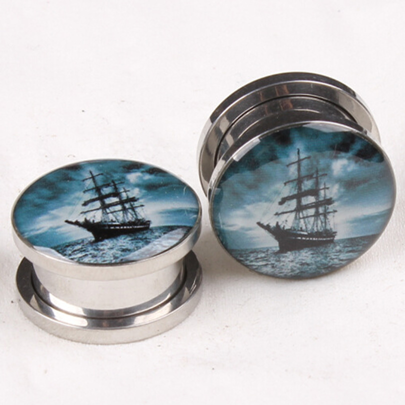2pcs Ear Expansion Fashion Sailboat Droplets Ear Plugs Stud Stretcher Septum Rings Tunnel Earring gauges body Piercing jewelry