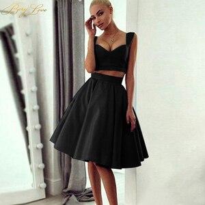 Image 2 - Simple Knee Length Homecoming Dress 2020 Two Pieces Navy Satin Homecoming Gown Prom Dress Graduation Dress vestido de formatura