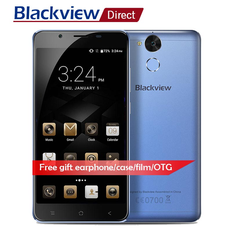 Blackview P2 Lite Mobile téléphone 5.5 HD 6000 mah 3 gb RAM + 32 gb ROM MTK6753 Octa core intelligent Android 7.0 4g LTE 13MP 8MP téléphone portable