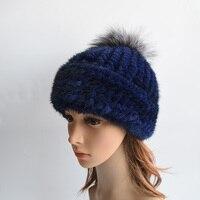 Women S Winter Hats 2017 Knitted Beanie With Fox Fur Ball Women Customized Headgear Hat For