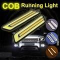 2 pcs Branco/Amarelo COB LED Daytime Running Luz DRL Virando Sinal de Luz Do Farol de Nevoeiro Luz Do Carro DC12V fonte Em Forma de U