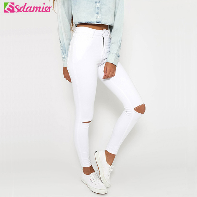 Black White Fashion High Waist Ripped Jeans Woman Plus Size Hole Jeans Denim Pants Stretch Hip Lift Skinny Jeans For Women