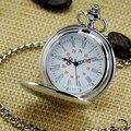 Venda quente Concise Prata Rodada Assista Moda & Leisure Colar Relógio de Bolso Do Vintage Para Homens Crianças Melhor Presente Relógios de Bolso