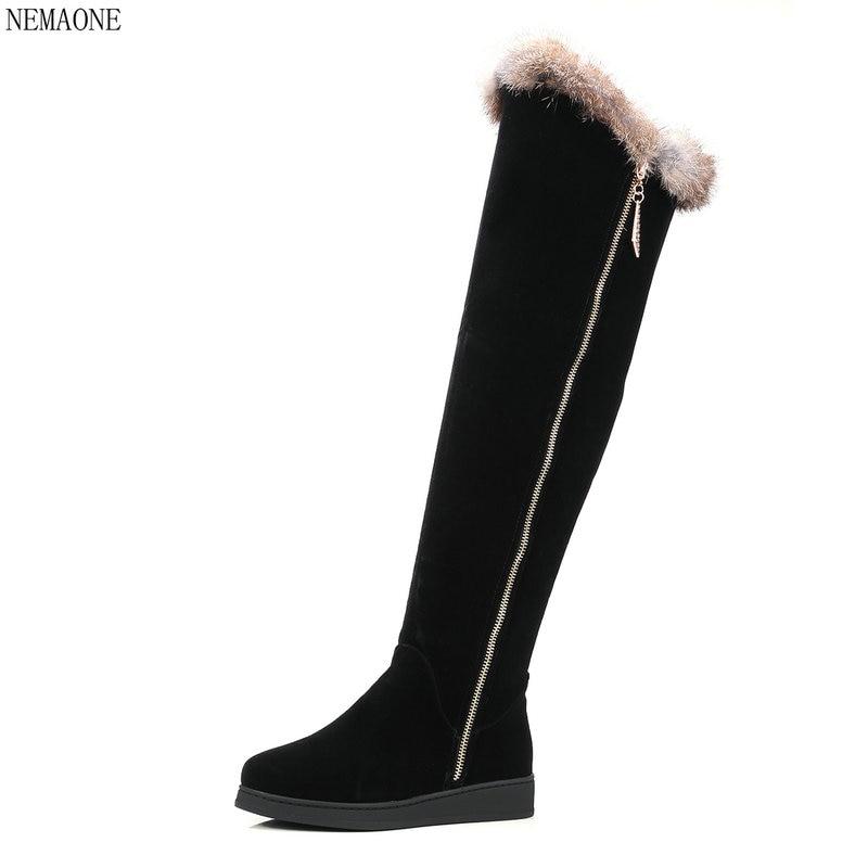 купить NEMAONE 2018 New Women Snow Boots Fur Platform Knee-High Boots pu Leather Fur Snow Boots Autumn Winter Women Shoes недорого