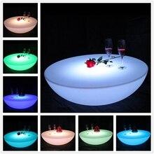 Красочный уличный барный стол набор светодиодная пластиковая мебель батарея круглый стол SK-LF17(D60* H20cm