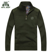 AFS JEEP 2017 Men S Winter Warm Casual Brand Blue Knitwear Pullover Man Spring High Quality