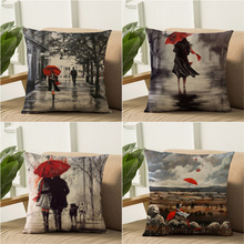 2018 European Red Umbrella Series Cushion Cover Linen Cotton Beautiful Girl Home Decorative Pillow Cover for Sofa Car Cojines