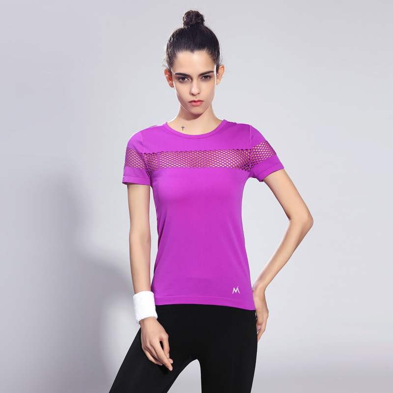 4b770e552bda1 Maxmessy Pro Summer Fitness Women Sports T shirt Running Short Sleeve Gym  Sexy Hollow Sportswear Tennis Tops Running T Shirts-in Yoga Shirts from  Sports ...