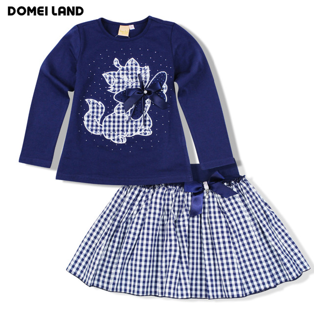2016 Fashion new winter baby clothing Boutique Outfits Sets Kids Girl Long Sleeve cat Cotton Shirts stripe Skirts Bow clothes