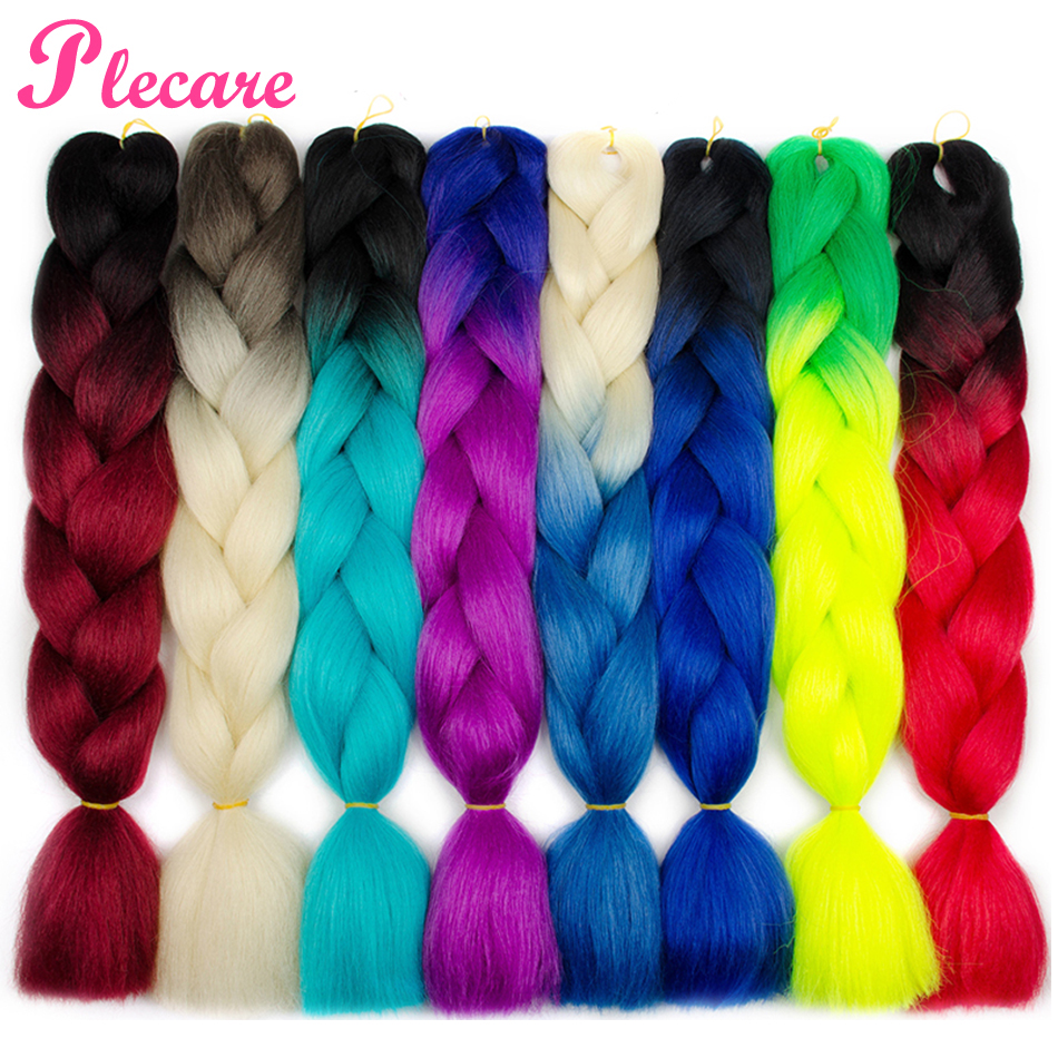 Plecare 2 3 4 Tone Ombre Braiding Hair Extensions 24 Inch Synthetic Jumbo Braids Crochet Twist Hair 100g/pcs